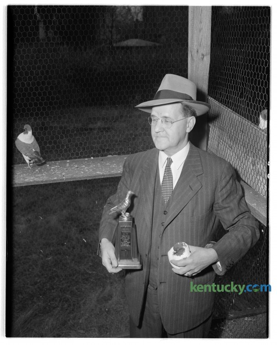 L.F. Rue, a Lexington grocer, 662 East Main street, shown with trophy and one of his Modean show pigeons. Published in the Lexington Leader November 1, 1945.