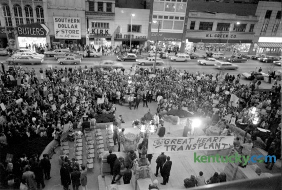 Nearly 1,000 people, predominantly young  people, marched and rallied in support of the Billy Graham Crusade for Christ  in front of the Fayette County Courthouse, April 23, 1971.
