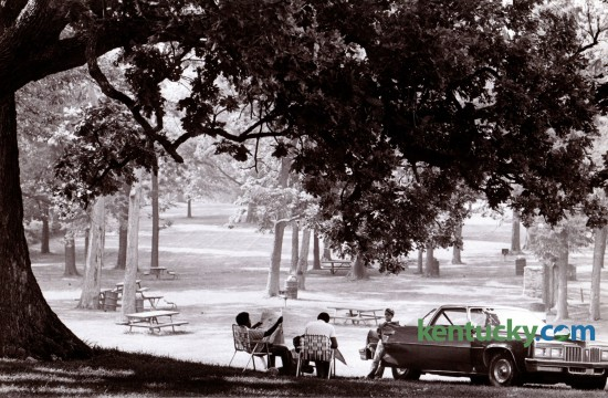 A huge old burr oak tree provided shade and cooler air for Ray Garr and his family in Castlewood Park August 10, 1981. Photo by Ron Garrison | Staff