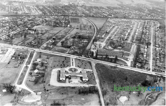 Aerial view of the Campbell House Inn, lower center of photo, in 1960. Harrodsburg Road, center, runs left to right and Waller Avenue comes in from the top. Mason Headley Road, at right, runs beside the Campbell House, which opened its doors to the public in 1951. Published in the Lexington Leader January 14, 1960. Herald-Leader Archive Photo