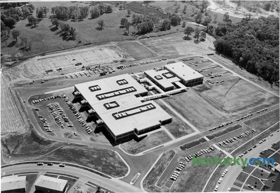Aerial photo of the new  Henry Clay High School on October 6, 1970. The school, named after the national statesman Henry Clay, is the oldest public high school in Lexington. Henry Clay High originally opened on Main Street in 1928. The school moved to its current Fontaine Road location in 1970 and underwent a complete renovation in 2006.