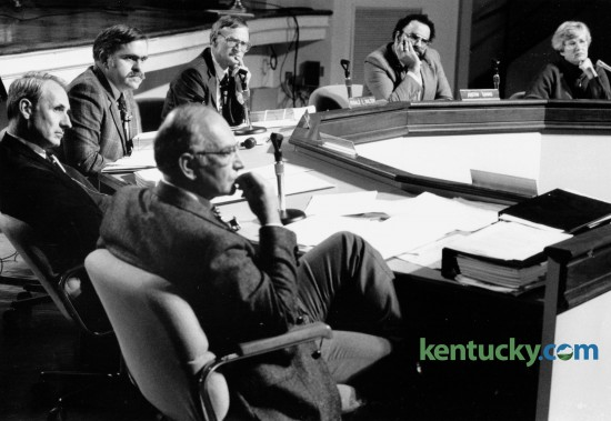 The Fayette County School Board in January 1988, included, from lower left clockwise, Curt Harvey, David Chittenden, Barth Pemberton, Superintendent Ronald E. Walton, Austin Simms and Marilyn Daniel. Photo by David Perry | Staff