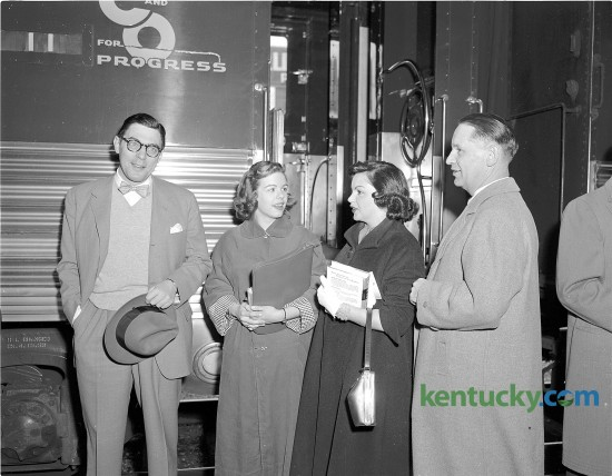 """Actress Judy Garland, second from right, arrives at Lexington's Union Station April 28, 1953. The actress and singer, known for her role as Dorthy in """"The Wizard of Oz"""", was in Lexington to perform in a show at Memorial Coliseum as part of Blue Grass Festivals, Inc. pre-Derby attractions. While in Lexington, the actress, Described by Fred Astaire as """"the greatest entertainer who ever lived"""", visited children at Shriners Hospital. With her are Lexington Mayor Pro Tem Fred E. Fugazzi, Miss Ann Powell and Hugh Meriwether, president of Blue Grass Festivals."""