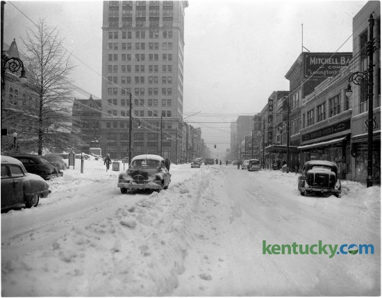 February of 1951 brought record cold temperatures to Lexington. This photo shows cars stranded along Main Street. Published in the Lexington Leader February 2, 1951.