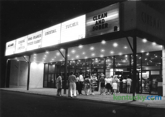 Patrons line up outside the South Park Cinema 6 Aug. 17, 1988 to purchase tickets for the six movies being shown - Die Hard, Coming to America, Who Framed Roger Rabbit, Cocktail, Tucker and Clean and Sober. The movie theater was located in the back of the South Park Shopping Center off Nicholasville Road. It later became a discount theater before closing in 2007. Photo by Michael Malone | staff