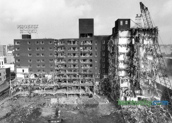 The wrecking ball brought down part of the Phoenix Hotel on Nov. 17, 1981 in Lexington, Ky. The Phoenix was demolished in 1981 and 1982 by Wallace Wilkinson, who planned to use the site to construct the World Coal Center skyscraper. It was never built and the site eventually became the Park Plaza Apartments and Phoenix Park. Photo by Charles Bertram | Staff