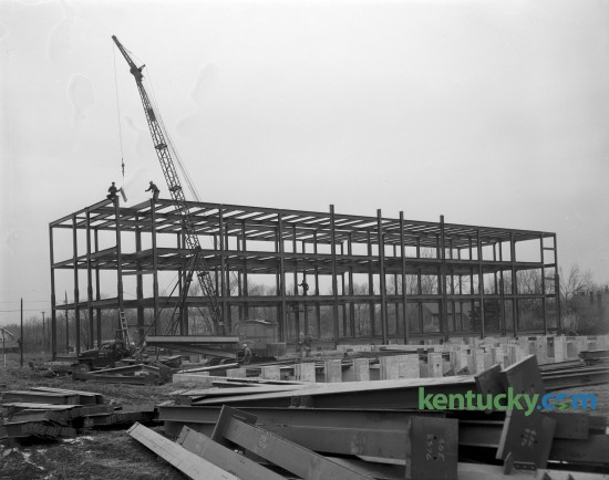 Steelworkers assembled the framework of Central Baptist Hospital on Nicholasville Road in December of 1950. The 173-bed community hospital opened it's doors on May 12, 1954. Published in the Lexington Herald December 23, 1950.