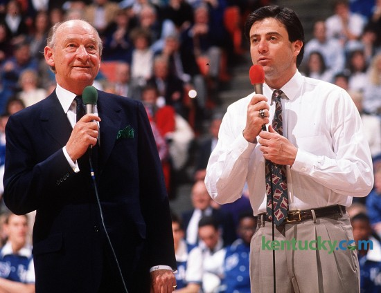 Radio play-by-play announcer for University of Kentucky basketball Cawood Ledford, left, and Wildcats coach Rick Pitino spoke to the crowd at Rupp Arena during a game in Pitino's first season at UK (1989-90).