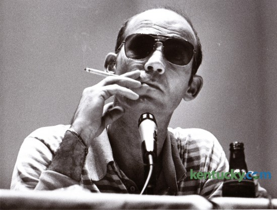 Author and Kentuckian Hunter S. Thompson made an appearance in UK's Memorial Coliseum September 18, 1980. Thompson is one of six writers that the Carnegie Center for Literacy and Learning has announced as new members of their Kentucky Writers Hall of Fame. Also included will be Wendell Berry, Guy Davenport, Elizabeth Hardwick, Jim Wayne Miller and Effie Waller Smith. The induction ceremony is January 28.  Photo by Ron Garrison | Staff