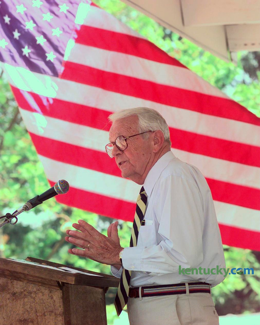 Sen. Wendell Ford, D-Owensboro was the emcee at the 117th Annual Fancy Farm  Political Picnic in Fancy Farm, KY, Saturday, Aug. 2, 1997. He was to retire in Fall of 1998. Photo by Michelle Patterson | Staff