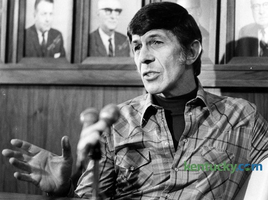 "Actor Lenoard Nimoy spoke at Eastern Kentucky University on Feb. 16, 1978. Nimoy was known for his role as Mr. Spock in the ""Star Trek"" TV series and movies. When he spoke at EKU in Richmond, filming for the science-fiction series had been completed 10 years ealier. But Nimoy told the crowd, ""it's had an amazing afterlife."" As proof, a boy about 4 or 5 years old slipped down the aisle to the Hiram Brock Auditorium stage and called for Nimoy to hold him. Nimoy picked him up, carried him to the microphone and said, ""See, there is magic in the character. There are lots of reasons to respond to Spock. ... we all sense his dignity."" Photo by David Perry 