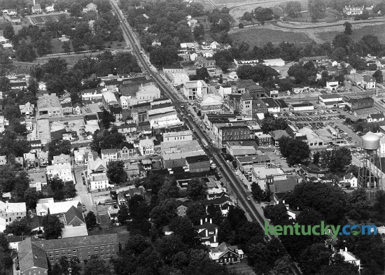 Aerial picture of downtown Georgetown, Kentucky, Aug. 6, 1986. The population around this time was just over 11,000. Today, it has eclipsed 30,000. Photo by Charles Bertram | staff.