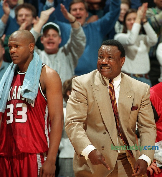 "Arkansas coach Nolan Richardson reacts to an officals call Feb. 11, 1996 durning the second half of Kentucky's 88-73 win over the Razorbacks. The second-ranked Wildcats utilized a deep bench and improved to 20-1 overall and 10-0 in the Southeastern Conference. Richardson, who's Arkansas team won the NCAA title two years ealier, was known for coaching teams that played an fast-paced game with pressure defense - a style that was known as ""40 Minutes of Hell."" Photo by Frank Anderson 