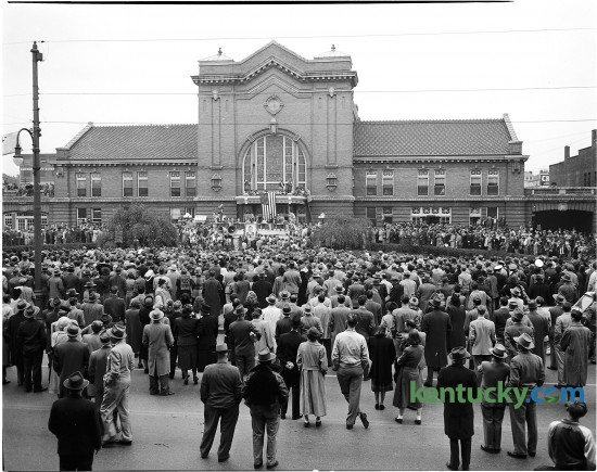 A crowd gathers outside Union Station Oct. 12, 1948 waiting to greet New York Governor Thomas E. Dewey, the Republican nominee for president. The downtown train station was located at what is now the corner of East Main Street and Martin Luther King Boulevard. It  was demolished for a parking garage in 1960. Dewey would go on to lose to the incumbent President, Harry S. Truman, in one of the greatest upsets in presidential election history. Herald-Leader Archive Photo