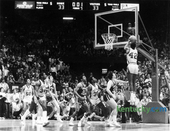 Henry Clay's Greg Bates' put-back at the buzzer gave the Blue Devils a 35-33 triple-overtime victory March 19, 1983 over Carlisle County in the finals of the Boys' Sweet Sixteen at Rupp Arena. It was Henry Clays' sixth state title in boy's basketball and they have not won another crown since. Bates scored 9 points for Henry Clay and was named to the All-Tournament Team. Herald-Leader file photo