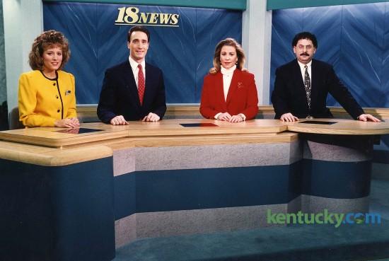 WLEX-TV (Channel 18) broadcasters, Feb., 1993, from left: meteorologist Diane Kacmarik; anchor Tom Kenny; anchor Mindy Shannon; sportscaster Alan Cutler. Herald-Leader photo by Ron Garrison | staff