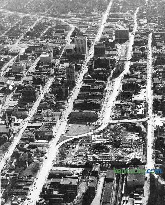 Aerial picture of downtown Lexington, Nov. 23, 1974. Main Street runs from the top to the bottom up the middle of the picture. Rupp Arena is shown under construction in the lower right corner.