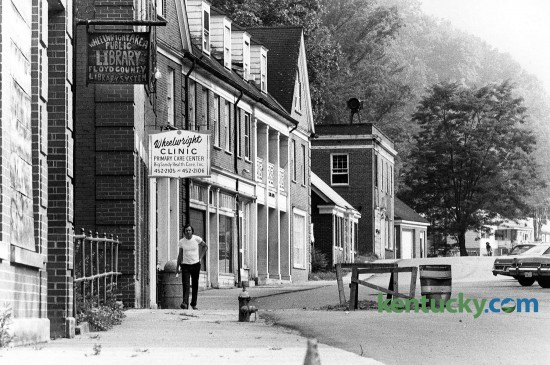 Downtown Wheelwright, located in Floyd County, Aug. 7, 1979. At the time of this photo, a little over 800 people lived in the Eastern Kentucky town. Today it is about the same. The town was founded by the Elk Horn Coal Company in 1916 and was named for the company's president at that time, Jere H. Wheelwright. The building with the Wheelwright Clinic sign has since been torn down. Photo by Byran Lutz