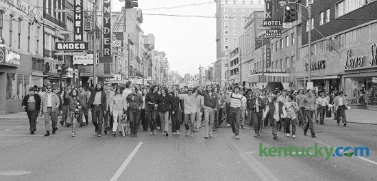 University of Kentucky students protesting the Vietnam War march down Main  Street, Lexington, May 6, 1970 after being forced off their own campus enroute to the Transylvania College campus where they held a peaceful rally. Herald-Leader file photo