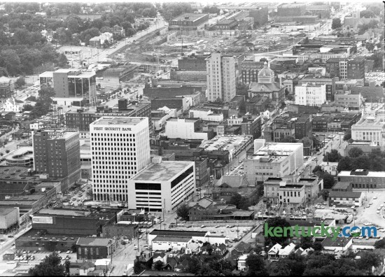 Aerial picture of downtown Lexington, looking from the east, Oct. 1974. At the top, just above the Fayette Co. Courthouse, is early construction of Rupp Arena. Herald-Leader archive photo