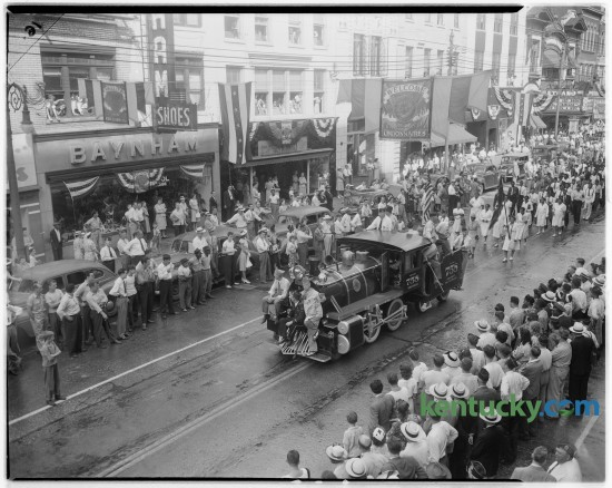 The State American Legion Parade took place on Lexington's Main Street on July 8, 1946. In the background, top right, is the Strand Theatre, 153 E. Main St, which opened in 1915 and closed in 1974.  Unpublished. Herald-Leader Archive Photo