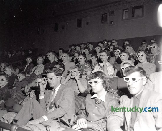A Strand Theater audience watching one of the first full length 3-D movies at the theater on East Main Street in Lexington, Feb. 1953. Herald-Leader Archive Photo