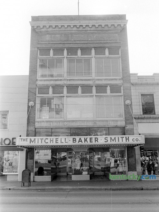 "The Mitchell Baker Smith Co., 230 West Main St. in downtown Lexington, Oct. 1965. At the time of this picture, the department store was celebrating its 100th anniversary on October 3, 1965 with a ribbon cutting and employees dressed in old colthing styles. The building was torn down and is now a parking garage for the Lexington Financial Center, locally known as ""Fifth Third"" or the ""Big Blue Building"". Herald-Leader archive photo"