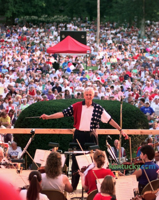 Dr. George Zack led the Lexington Philharmonic Orchestra  during the annual patriotic music concert from the stage in front of Old Morrison on the campus of Transylvania University July 4, 1997. The orchestra had played for the concert since at least 1986, until last  year when the 202nd Army Band of the Kentucky National Guard played. The Philharmonic will once again play for the concert this year, Friday July 3. Dr. Zack became the musical director and conductor of the orchestra in 1972, retiring after 37 years in 2009. Photo by Charles Bertram | Staff