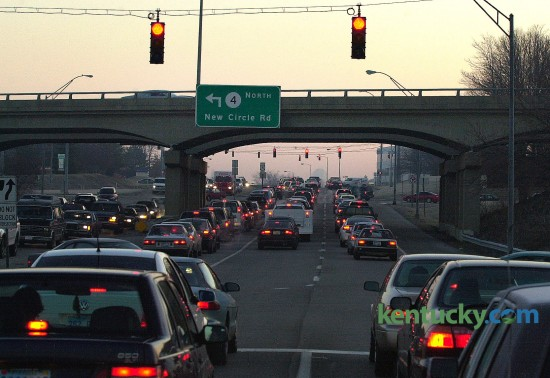 Morning rush-hour traffic heading towards downtown Lexington on Harrodsburg Road at the intersection with New Circle Road, Jan. 25, 2001. The busy Lexington intersection was converted into a double-crossover diamond in late 2011. The crossover, which was the sixth of its kind in the country, eliminates left turns across traffic. Photo by Frank Anderson | staff