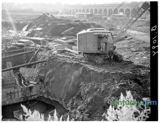 Excavation operation on the construction site of the University of Kentucky's Memorial Coliseum, Nov. 15, 1947. Completed in 1950, Memorial Coliseum was the longtime home court for the Wildcats and a memorial to the more than 10,000 Kentuckians killed in World War I and the Korean War. The names of Kentuckians killed in the Vietnam War were added later. The UK men's basketball team played in Memorial from 1950 to 1976, compiling a record of 306-38 (.890). In the background of the picture is Stoll Field, home for the UK football team until 1972. Herald-Leader archive photo