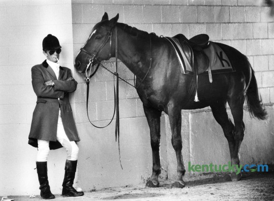Outridder Joe Riggs and his horse, Muskett, take a break in-between the third and fourth race Oct. 29, 1981 at Keeneland in Lexington. Photo by Charles Bertram | staff