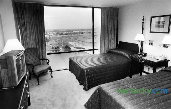 The bedroom area of a suite room at the Hilton Suites at Lexington Green, the day before it opened to the public, July 30, 1987. The $14 million hotel was the Hilton Hotels Corp.'s first franchised all- suites hotel in the nation. The hotel, with its 174 suites, is part of Lexington Green, a $47 million project developed by the Webb Cos. on Nicholasville Road. Lexington Green also contains a shopping center and a six-story office building. When the hotel opened, rates ranged from $65 per night to $125 per night. The Governor's Suite was $250 per night. It was the second all-suite hotel to open in Lexington. In 1985, the Residence Inn opened off Newtown Pike. Photo by Frank Anderson | staff
