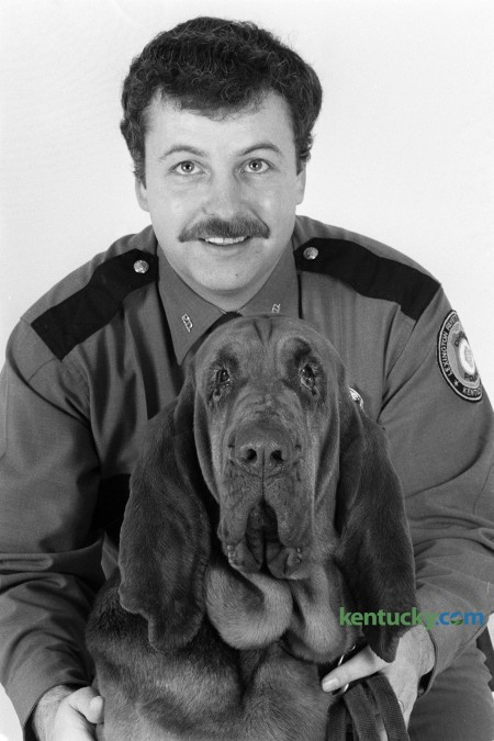 Lexington Police Officer Roy Mardis with his police dog Amanda during photo shoot in Lexington, Ky., in  February 1985. This was soon after he was named Lexington Police Officer of The Year. Mardis was accidentally shot by a state trooper during a manhunt for a murder suspect in a Mercer County cornfield on August 23, 1985. Photo by Charles Bertram   Staff