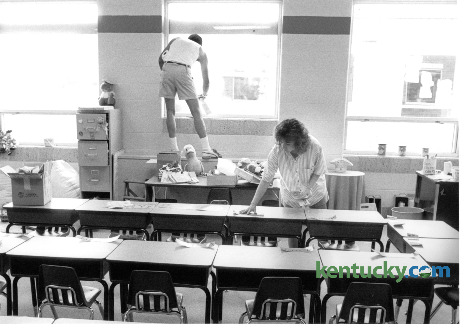 desks for the first day of school at Squires Elementary School ...