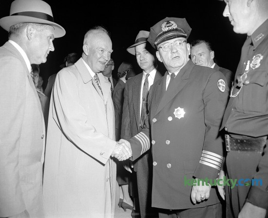 President Dwight D. Eisenhower shook hands with Lexington police Chief E.C. Hale on Oct. 1, 1956, while in Lexington as part of his re-election campaign. After being met at the airport by Kentucky Gov. Happy Chandler, the president's car rode through downtown in a parade. He later gave a speech at Memorial Coliseum at the University of Kentucky. Hale, police chief from 1953 to 1972, was credited with helping to keep racial tensions in the city from turning violent. Herald-Leader Archive Photo