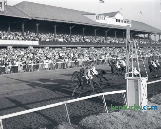 Oil Painting,  with Al Popara up, the less-fancied of Mrs. J.A. Goodwin's two-horse entry, won the $33,700 Alcibiades Stakes at Keeneland on October 17, 1953.  The daughter of Papa Redbird-Jack's Jillcame was fast in the stretch to beat Mrs. Janet Hoaglin's Pegeen and Hasty House Farm's Queen Hopeful by a length and a half.  The winning horse returned $16.66 to win. Inaugurated in 1952 as a seven furlong race, from 1956 through 1980 it was run at seven furlongs, 184 feet. In 1981 it was changed to its present distances of 11/16 miles. As the Fall Meet opens at Keeneland today, the $400,000 Darley Alcibiades will be run for 2 year old fillies going 1 1/16 miles on the main track. Published in the Herald-Leader October 18, 1953. Herald-Leader Archive Photo