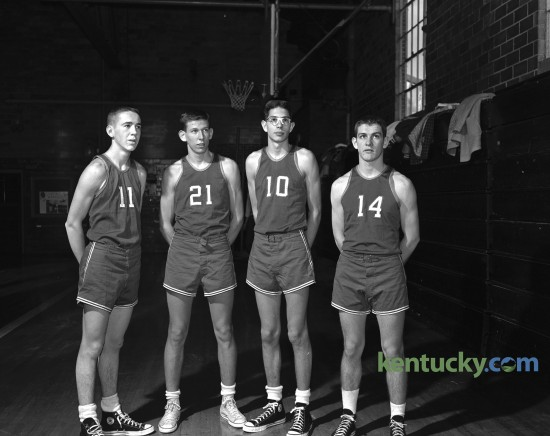Lafayette High School basketball.  Portrait of four players on the team including, from left to right, Roscoe Mitchell, Jeff Mullins, Ray Jorboe and Jim Burns. Published January 20, 1959. Today marks the opening of the 2015-16 Kentucky Boys basketball season. Herald-Leader Archive Photo