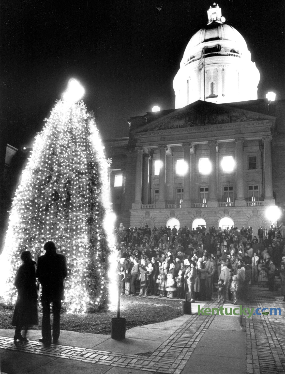state christmas tree lighting 1981 kentucky photo archive