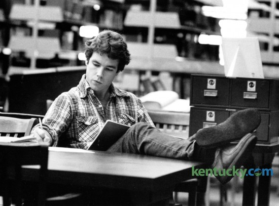 Chip Dailey, a University of Kentucky grad student from Frankfort, went over his notes for a business course while preparing for finals on December 17, 1978. This is finals week at UK. Photo by Ron Garrison | Staff