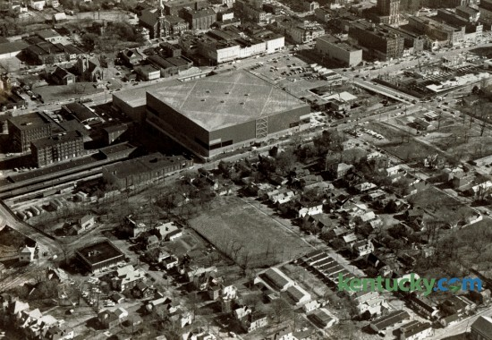 Aerial photo of the South Hill neighborhood in late January 1976. At the time, the Urban County Council had reaffirmed its decision to level most of the houses south of High Street to make way for a 16 acre surface parking lot for what would become Rupp Arena and Lexington Center. Construction of the Hyatt Regency Hotel had just started. The decision would make way for the 2,000 plus  parking spaces in the low-income residential area of South Hill. Despite a public movement to save the neighborhood the majority of the houses were torn down by early 1978. Photo by Ron Garrison | Staff