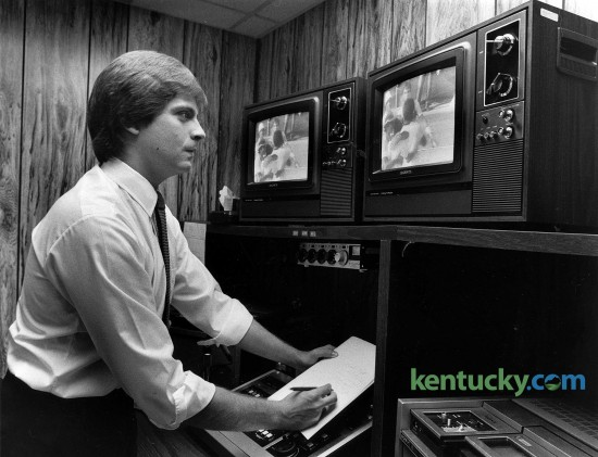 WTVQ-36's Kenny Rice in the editing room, July 12, 1982. Photo by David Perry | staff