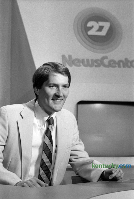 WKYT Sportscaster Rob Bromley behind the sport desk in July 1982. He was the top-rated sportscaster in Lexington at the time. Photo by Christy Porter | Staff