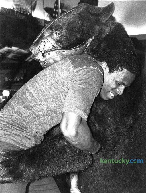 """University of Kentucky wrestler Fred Ringo accepted the challenge and took on Victor the traveling wrestling bear at Fayette Mall on Wednesday September 24, 1980, as part of the mall's ninth anniversary celebration. Victor stood 6'9"""" tall and weighed over 650 pounds. Anyone over the age of 18 could wrestle Victor. Photo by Ron Garrison 