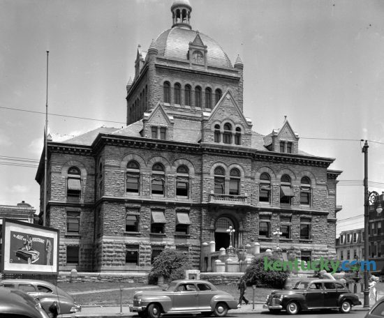 Fayette County Courthouse in early June 1949. Yesterday Lexington city officials announced several businesses that may lease space in the renovated courthouse when it reopens in the Spring of 2018. This photo was unpublished but was probably taken to help illustrate the city's vote on an ordinance to lift the ban on parking on Main Street between the hours of 4:30pm and 6pm. The board of city commissioners voted four to one on June 2 to restore the parking after most of the businesses on Main Street signed a petition presented by the Chamber of Commerce in support of lifting the ban. After a 60-day trial the merchants claimed the parking ban was hurting their businesses. The purpose of the parking ban experiment had been to relieve traffic congestion during rush hour and had been supported by the Blue Grass Automobile Club and the Lexington police department. Herald-Leader Archive Photo
