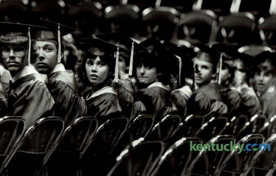 Tates Creek High School seniors listened to the school choir during commencement ceremonies June 5, 1986 in Rupp Arena. This year's Tates Creek High School graduation will be at 7pm tonight in Rupp Arena. Photo by Steven R. Nickerson | Staff