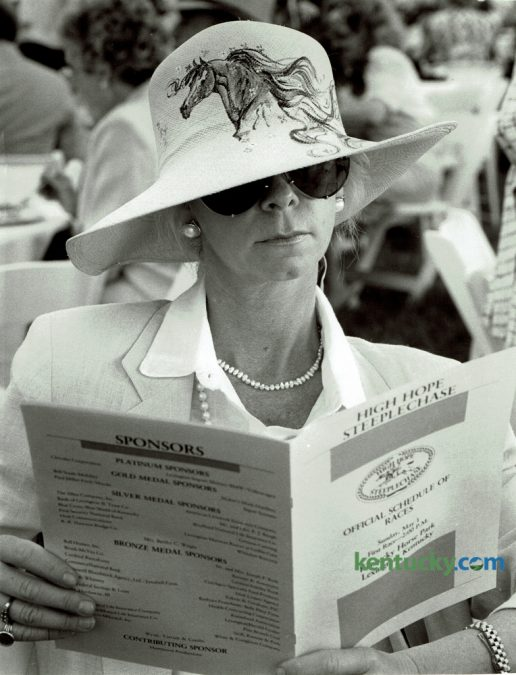 Sandra Santoro looked over the High Hope Steeplechase program May 1, 1988 at the Kentucky Horse Park. The 48th High Hope Steeplechase returns to the Kentucky Horse Park today with the gates opening at 11am. Photo by Alan Lessig