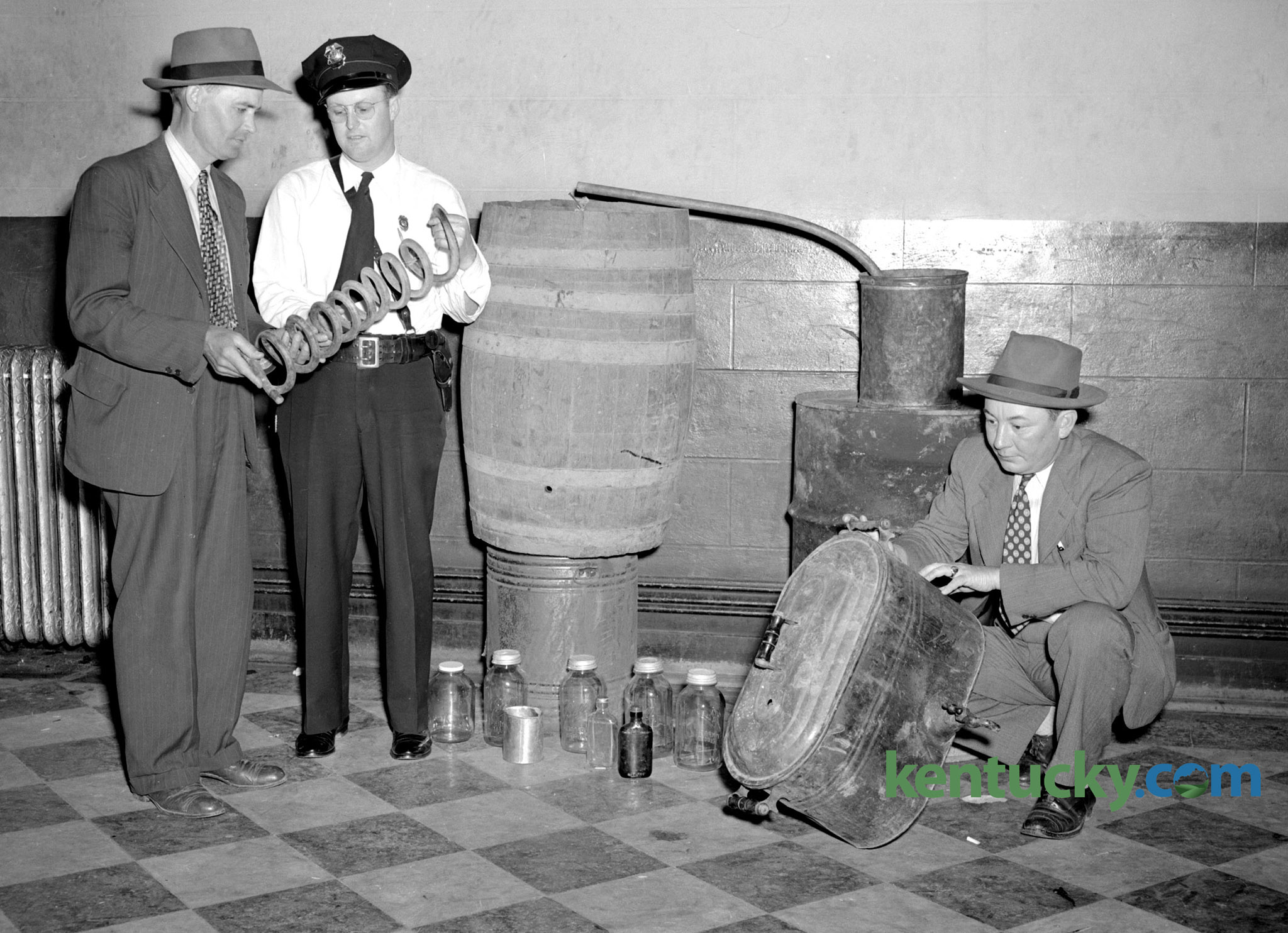 Confiscated moonshine still in Jessamine County, 1947   Kentucky