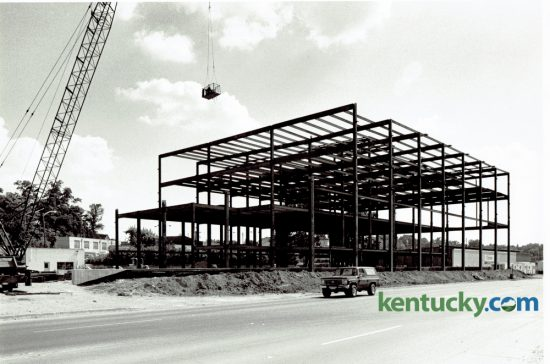 The Lexington Herald-Leader building on Midland Avenue takes shape in June of 1979. The newspaper offices had been previously located on Short Street downtown behind the Fayette County courthouse. Yesterday the McClatchy Company, owner of the Herald-Leader, announced they would outsource printing to the Gannett Company in Louisville and put the Midland Avenue building up for sale. Photo by John C. Wyatt | Staff
