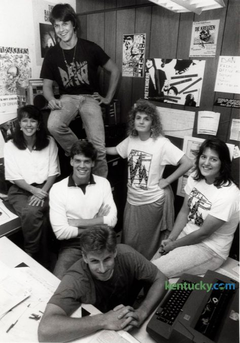WRFL radio station staff in the office basement of Miller Hall on the UK campus September 29, 1987. Top of photo: Mark Beaty. From left to right: Leslie Lyons, Scott Ferguson and Rhea Perkins. Foreground: Jack Kirk and front right: Ellen Jett. Herald-Leader Staff Photo