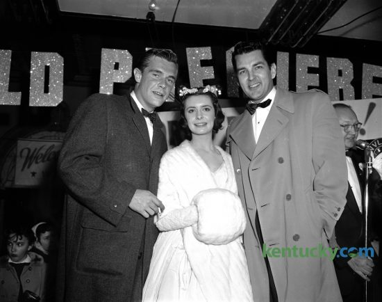 "Three of the stars of the movie ""Glory"", John Lupton, left, Margaret O'Brien and Byron Palmer were shown at the world premiere at the Kentucky Theatre on Wednesday January 11, 1956. The movie told the story of a young woman who raised a filly named Glory to become a Kentucky Derby champion. The movie was filmed in part at  Keeneland, Calumet Farm and Churchill Downs in Louisville. The Kentucky Theatre is currently in the news because of a renewed effort to renovate the theatre's original organ. Herald-Leader Archive Photo"